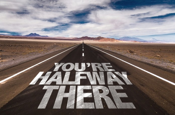 You're Halfway There written on desert road